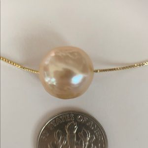 "12mm Cultured Pearl Floating on 18"" Yellow Chain"